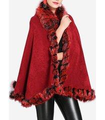 cappotto di capispalla autunno inverno collo in maglia di pelliccia di volpe sintetica