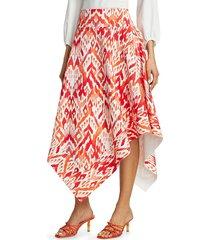 chiara boni la petite robe women's rike ikat midi skirt - red ikat - size 10