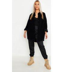 plus oversized corduroy blouse met onbewerkte zoom, zwart