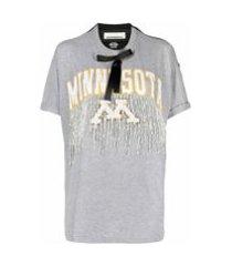night market camiseta mangas curtas com franjas e aplicação de contas - cinza