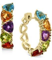 effy multi-gemstone (5-1/3 ct. t.w.) & diamond (1/8 ct. t.w.) trillion small hoop earrings in 14k gold