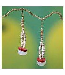 agate and ceramic dangle earrings, 'odopa' (ghana)
