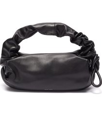 'lola bis' side knot detail ruched leather shoulder bag