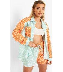 contrasterend baggy overhemd met stippen en shorts, mint