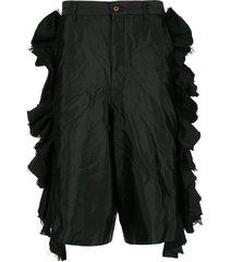 comme des garçons homme plus frill trimmed flared shorts - black