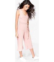 basic geribbelde culotte jumpsuit, blush