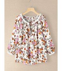 camicetta a maniche lunghe annodata con scollo a o con stampa floreale da donna