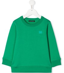 acne studios mini fairview face-motif sweatshirt - green