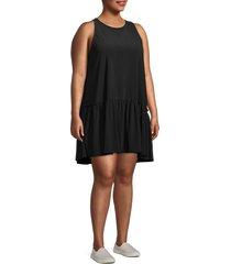 tiana b women's plus drop-waist mini dress - black - size 1x (14-16)