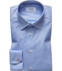 men's eton contemporary fit solid dress shirt, size 18 - blue
