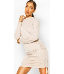 high neck ruched sweatshirt dress, stone