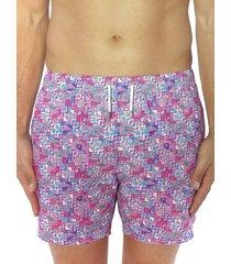bertigo men's graphic print swim shorts - pink - size xxl