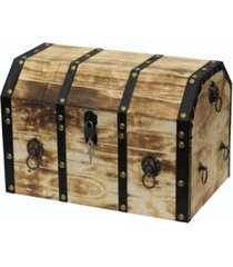 vintiquewise large wooden decorative lion rings pirate trunk with lockable latch and lock