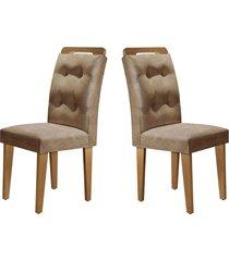 conjunto c/ 2 cadeiras imperatriz imbuia mobillare movelaria bege