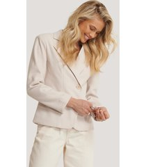 na-kd classic herringbone blazer jacket - beige