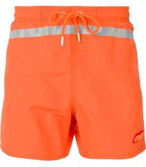 heron preston reflective stripe swim shorts - orange