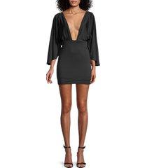 bebe women's plunging mini dress - black - size xl
