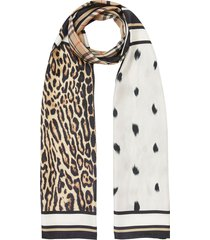 burberry vintage check and animal print silk scarf - neutrals