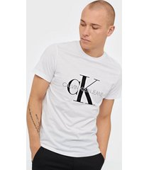 calvin klein jeans iconic monogram ss slim tee t-shirts & linnen vit
