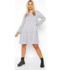 plus tiered jersey smock dress, grey marl
