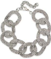 thalia sodi silver-tone crystal link bracelet, created for macy's