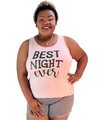 """pijama feminino best night ever"""" salmão com listras pretas plus size"""""""