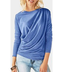 camisetas de manga larga con cuello redondo liso con diseño plisado azul