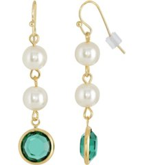 2028 gold-tone imitation pearl with dark green channels drop earring