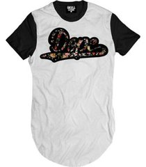 camiseta longline dope floral masculina