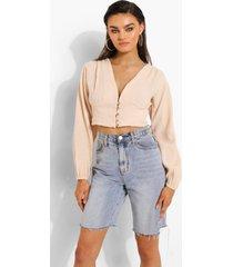 blouse met textuur, knopen en volle mouwen, sand