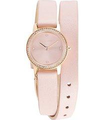 rebecca minkoff women's major rose goldtone & crystal leather-strap watch