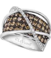 le vian chocolatier diamond crossover statement ring (2-3/4 ct. t.w.) in 14k white gold