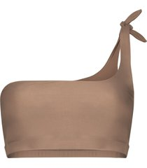 abysse one-shoulder bikini top - brown