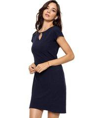 vestido azul etam recortes