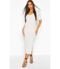 nauwsluitende ribgebreide midaxi jurk met pofmouwen, grijs