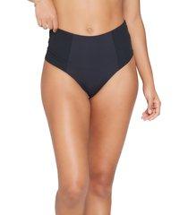 women's l space jackie high waist bikini bottoms, size small - black (nordstrom exclusive)