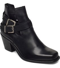 biacedar open leather boot shoes boots ankle boots ankle boot - heel svart bianco