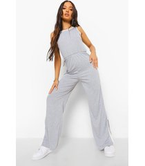 petite jumpsuit met zijstreep en split, grey marl