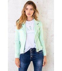 suede biker jacket mint