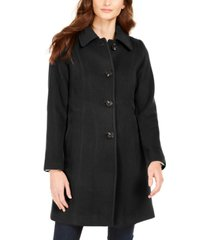anne klein petite single-breasted club-collar coat
