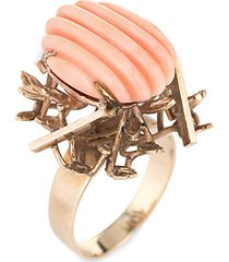 vintage 14k yellow gold & fluted coral ring