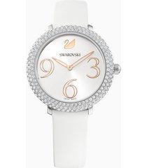 orologio crystal frost, cinturino in pelle, bianco, acciaio inossidabile