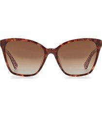kate spade new york amiyah 56mm gradient polarized cat eye sunglasses in dark havana/brown gradient at nordstrom