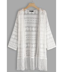 white geometrical lace details tassel hem long sleeves kimono