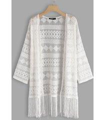 detalles de encaje geométrico blanco borla dobladillo manga larga kimono