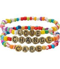 eye candy la women's luxe love, care & change 3-piece goldtone & enamel stretch bracelet set