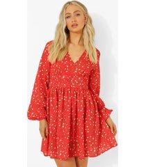 bloemenprint thee jurk met geplooide middel, red