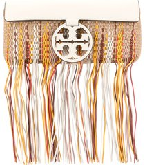 tory burch miller fringe clutch - neutrals
