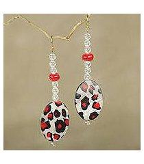 beaded dangle earrings, 'leopard blessing' (ghana)