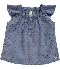 blusa en índigo miniprint con escote resortado